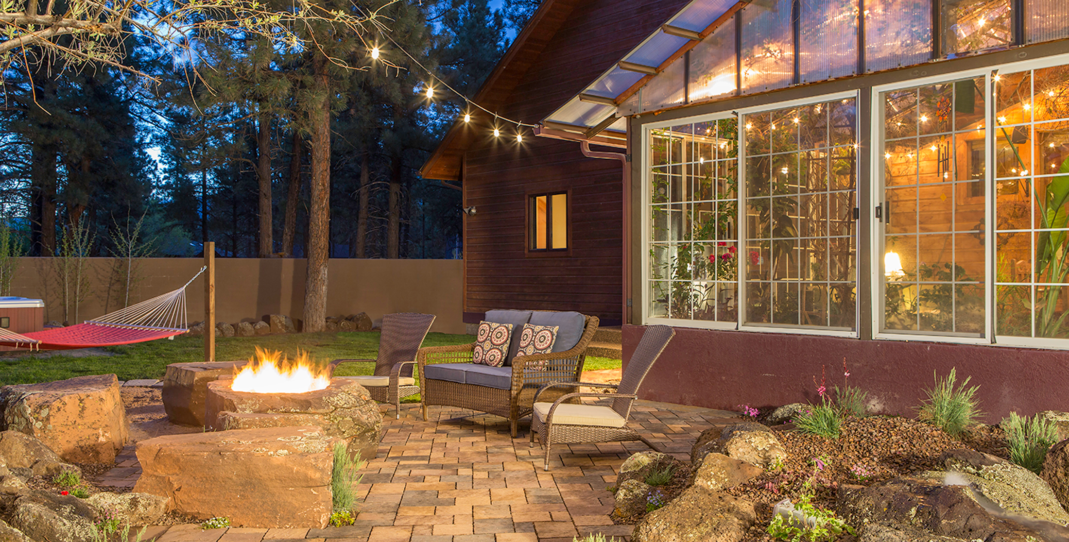 Landscape Design with Boulder Fire Pit